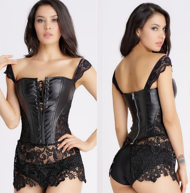 eda255feb Steampunk Women s Sexy Black Lace Faux Leather Overbust