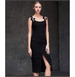 Colorful Crystal Brooch Shoulder Strap Slit Side Black Dress