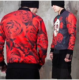 Red Rose Skull Graphic Neoprene Baseball Jacket 255