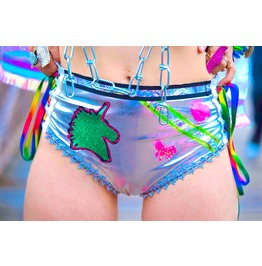 Holographic Pleather Rainbow Unicorn Lace Up Shorts