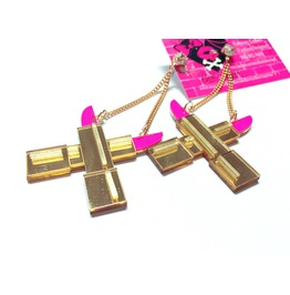 Pink/Gold Lipstick Blade Earrings