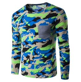 Men's Camouflage Printed O Neck Pocket Long Sleeve T Shirt