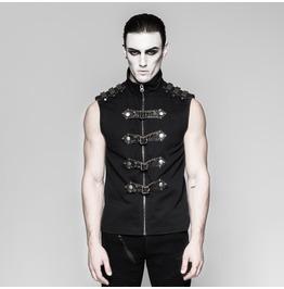 Punk Rave Men's Buckle Up Zipper Vest Y741