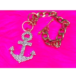 Anchor Bling Chain Charm Bracelet