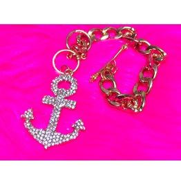 Anchor Bling Chain Charm Bracelet