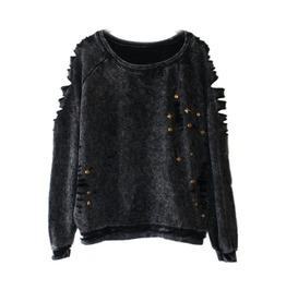 Women's Punk Rivet Ladder Cutout Distressed Long Sleeve Sweatershirt