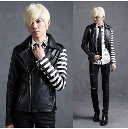 Mens Slim Fit Designer Pu Leather Short Motorcycle Jackets