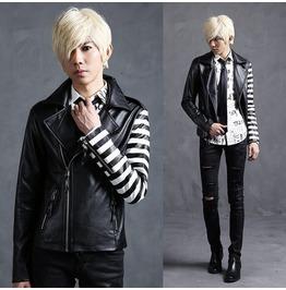Mens Slim Fit Designer Pu Leather Short Motorcycle Jackets