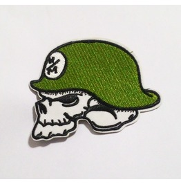 Embroidered Skull Green Helmet For Biker Patch.