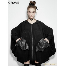 Black Gothic Bats Jacket For Women Py 178