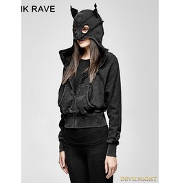 Black Gothic Punk Dark Bats Loose Short Hoodie For Women Py 208