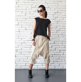 Loose Drop Crotch Pants/Beige Maxi Pants/Oversize Linen Pants/Loose Pants