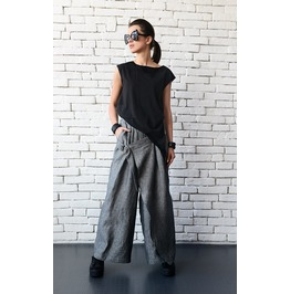 Extravagant Linen Pants/Wide Leg Trousers/Long Asymmetric Pants/Casual Pant