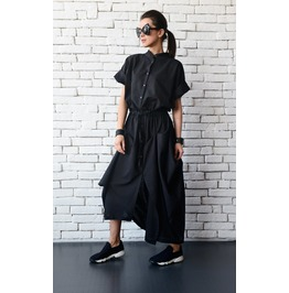 Black Linen Long Dress/Extravagant Asymmetric Shirt Dress/Steampunk Dress