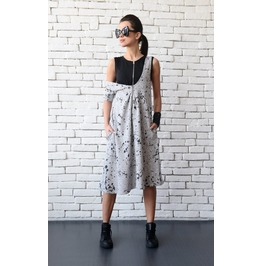 Grey And Black Loose Dress/Extravagant Oversize Tunic/Sleeveless Maxi Dress