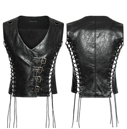 Punk Rave Men's Mechanical Steampunk Faux Leather Waistcoats Y756