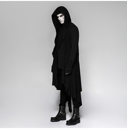 Punk Rave Men's Steampunk Irregular Hooded Long Coat Y751