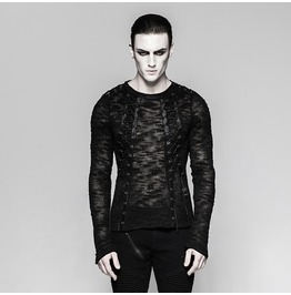 Punk Rave Men's Punk Sheer Lace Up Sweater T474