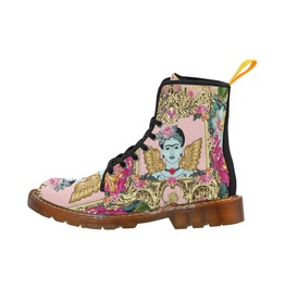 Frida Kahlo With Wings With Vintage Flower Print Canvas Boots