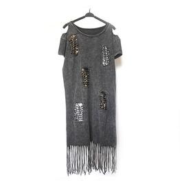 Women's Punk Open Shoulder Paillette Distressed Tassels Longline T Shirt