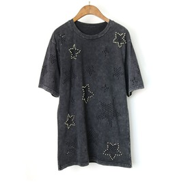Women's Punk Star Beading Cutout Longline T Shirt
