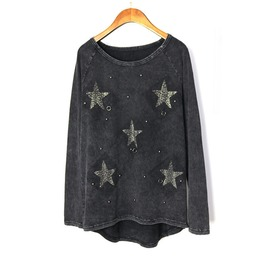 Women's Punk Star Beading Printed Long Sleeve Shirt
