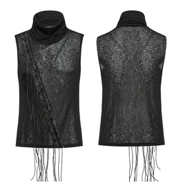 Punk Rave Men's Stand Collar Tassels Tank Tops T473