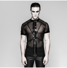 Punk Rave Men's Mesh Cross Chain Short Sleeved Shirt T465