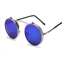 Steampunk Vintage Retro Metal Frame Round Flap Sunglasses