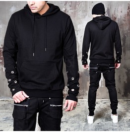 Multiple Wrist Eyelet Accent Black Hoodie 131
