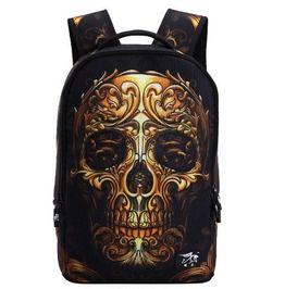Black 3D Print Skull Print Zipper Backpack