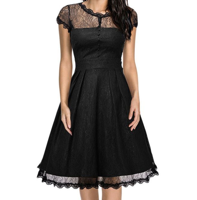 26f774fa4b Women s Retro Vintage Lace Skater Dress