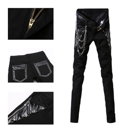 Punk Rock Skull Studded Black White Slim Fit Skinny Pants