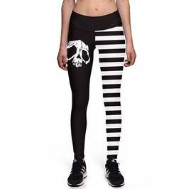 Skull print striped high waist fitness leggings plus size leggings
