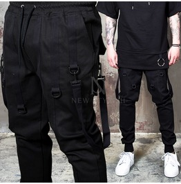 Multiple Webbing Buckle Strap Black Sweatpants 249