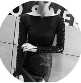 Women Punk Vintage Rock Black Long Sleeve T Shirt Tops