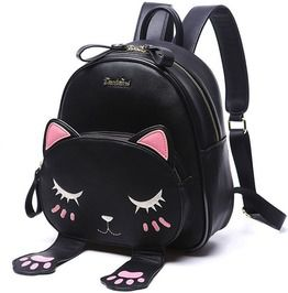 Pink Black Pu Leather Cat Travel Backpack
