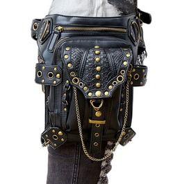 Gothic Black Rivet Zipper Chain Messenger Waist Bag