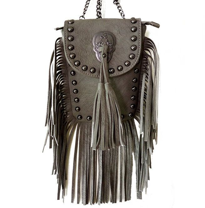 b0eba0ea41b17c Skull Rivets Classic Flap Tassel Shoulder Crossbody Bag | RebelsMarket