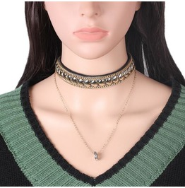 Women Fashion Heart Necklace Love Multilayer Necklace Gothic Choker Bz027