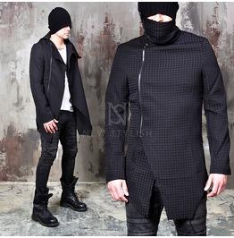 Unbalanced Black High Neck Slim Zip Up Jacket 259