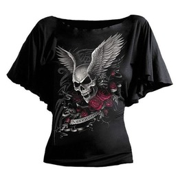 Steampunk Batwing Sleeves Skull Red Rose Print Top