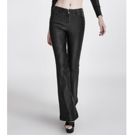 Vintage Retro Rockabilly 70's Bell Bottomed Leather Look Pant