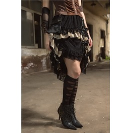 Victorian Steampunk Vintage Gothic Pirate Half Long Layered Skirt