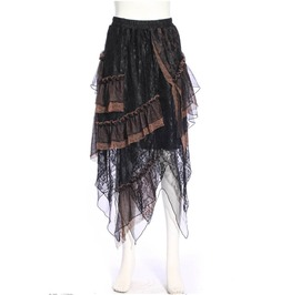 Steampunk Victorian Gothic Burlesque Mediaval Pirate Lace Layered Skirt