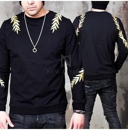 Gold Laurel Embroidered Black Shirts 664