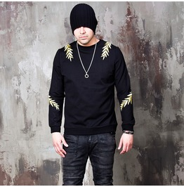 Gold Laurel Embroidered Black Shirts 664