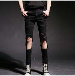 New Stylish Punk Men's Ripped Skinny Pants Destroyed Trousers