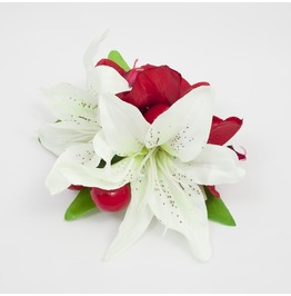 Double Cream Hair Lilies With Red Orchids And Cherries.