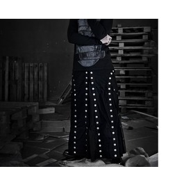 Gothic Men Kilt Long Black Steam Punk Kilt Men Long Skirt